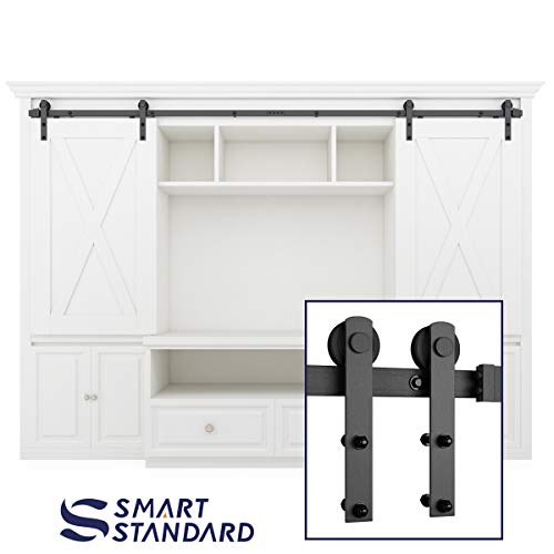SMARTSTANDARD 8FT Mini Sliding Barn Door Hardware Kit, for for Double Opening Cabinet TV Stand Closet, Black, Two-Piece Track Rail, Easy to Install, Fit 32