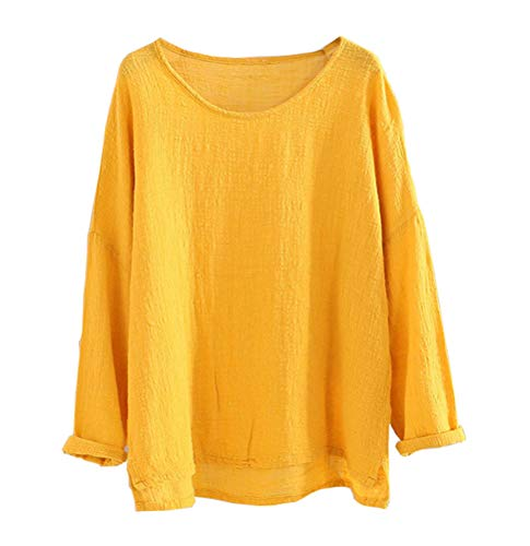 Soojun Women's Casual Loose Long Sleeve Round Collar Cotton Linen Shirt Blouse Tops, Color Yellow, Large