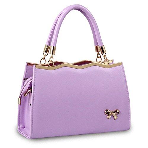 New QCKJ-Lorenz-Borsa a spalla borsetta con fiocco da donna, in ecopelle, colore: viola