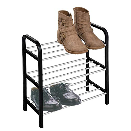 iHomie 3 Tier Shoe Rack Small Standing Storage Organizer Suitable for 6 Pair Shoes Version Easily Assemble Space Saving (Size : 16'' X 8'' X 17'')