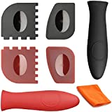 Cast Iron Cleaner Cosmer XL Premium Chainmail Scrubber with Bonus Silicone Hot Handle Holder + Pan Scraper + Grill Scraper + Kitchen Towel + Wall Hook (7 Pack)