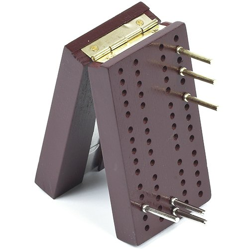 Travel Pocket Size Wooden Cribbage Board with Metal Pegs by Bello Games New York, Inc.