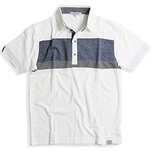 QUINTETTO(クインテット) ブロッキング デザイン 半袖 ポロシャツ メンズ ポロ カジュアル ゴルフ ビジネス 21-8403-212 (M, 20,ホワイト(WHITE))
