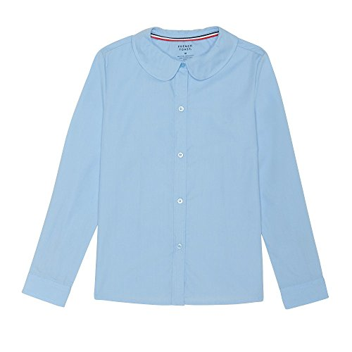 French Toast Big Girls' Long Sleeve Peter Pan Collar Blouse, Light Blue, 8