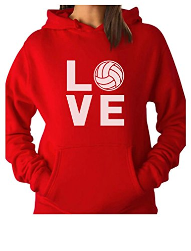 Love Volleyball for Volleyball Fans Women Hoodie Medium Red ()