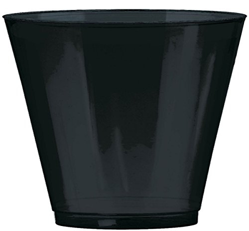 Big Party Pack Jet Black Plastic Cups | 9 oz. | Pack of 72 | Party Supply