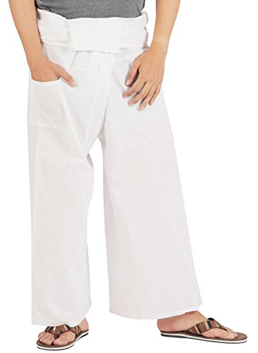 (CandyHusky Cotton Men Women Fisherman Pants Summer Tai Chi Hippie Yoga Pants)