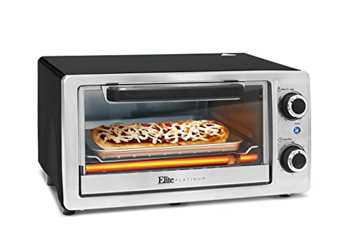 (Elite Platinum ETO-9323SS Toaster Oven with Bake Pan, Grill Rack, Crumb Tray, 60-Min Timer, 4-Slice, Stainless Steel)