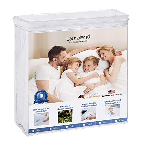 LAURALAND Mattress Protectors Queen Size, 100% Hypoallergenic Waterproof Mattress Protector, Premium Fitted Cotton Terry Cover- 10 Year Warranty, Vinyl Free ()
