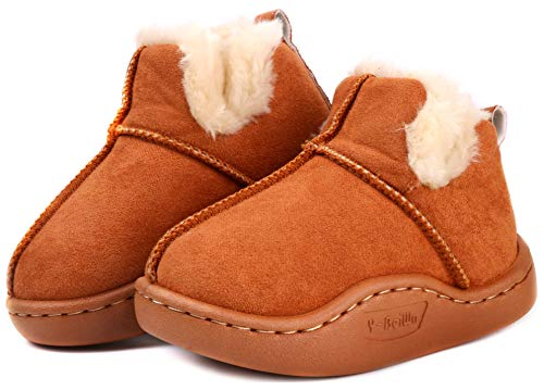 LONSOEN Toddler Boys Girls Fur Lining Booties Shoes Winter Fleece Slip-on Loafers Boots,KDB023 Camel CN18
