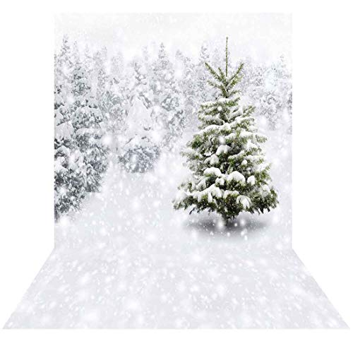 Allenjoy 5x7ft Fabric Photography Christmas Photo Backdrops Xmas New Year Winter Forest Background for Kids Baby Shower Newborn Snow Trees Holiday Party Decoration Pine Snowy Photo Booth Supplies (Photos Christmas Winter Landscape)