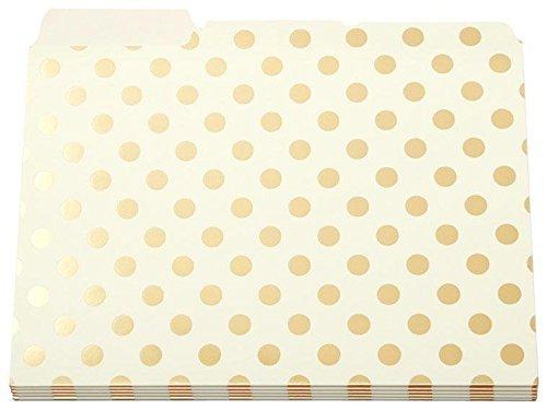 Kate Spade Gold Foil Dots File Folders set of 6 (Dots Foil)