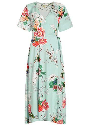 Pintage Women's Boho Wrap Dress Split Maxi Dress L Light Green ()