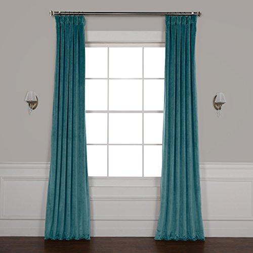 HPD HALF PRICE DRAPES VPYC-179921-96 Heritage Plush Velvet Curtain, 50 x 96, Deep Sea Teal - Sea Velvet