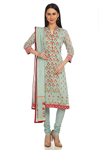 BIBA Sea Green Straight Cotton And Silk Suit Set Size - Silk Churidar Suit