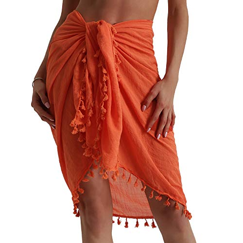 (Eicolorte Beach Sarong Pareo Womens Linen Cotton Swimwear Cover Ups Short Skirt with Tassels (Orange-Short))