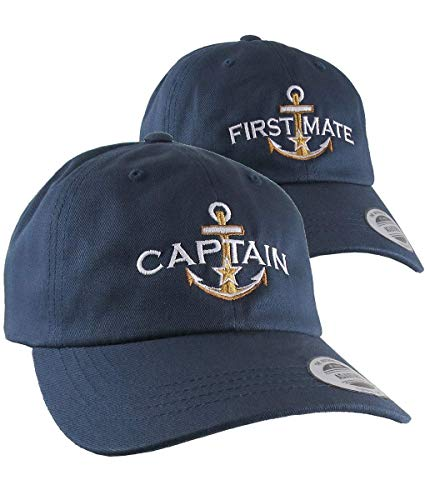2 Hats Nautical Golden Star Anchor Captain First Mate Embroidery Adjustable Navy Unstructured Yupoong Baseball Caps Personalized Options