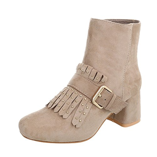 Ital-Design Zapatos Para Mujer Botas Tacón Ancho Botines Clásicos Beige