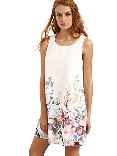 Floerns Women's Loose Floral Tank Dress Summer Sleeveless Dresses White Pink M