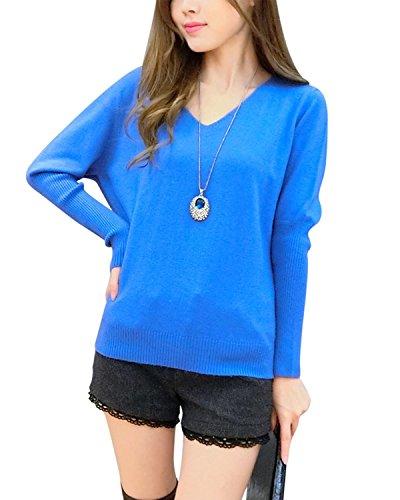 Orlando Joh Comfortable Women's Loose Batwing Big V-neck Cashmere Sweater (Medium, Lake blue) Lake - Macy Orlando