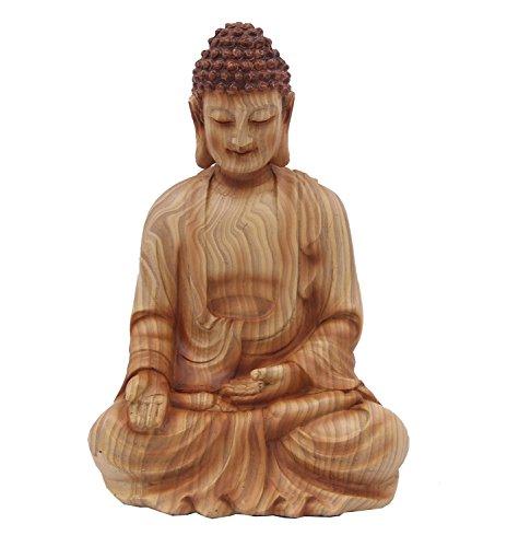 (DharmaObjects 7 Inches Wood Like Buddha Meditating Peace Harmony Statue (7 Inches))