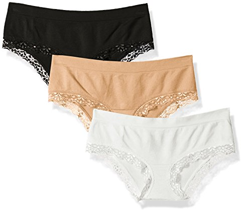 (Amazon Brand - Mae Women's Seamless Hipster With Lace, 3 Pack, White/Black/Beige, Medium)