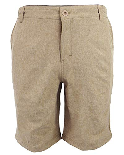 Boardshorts Khaki - Evrimas Men's Amphibian Hybrid Shorts Chino Golf Athletic Casual Quick Dry 21'' Solid Walk Boardshort Khaki Black (Khaki, 32)