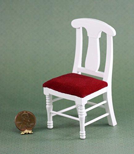 Dollhouse Miniature Red Velvet White Wood Chair ()