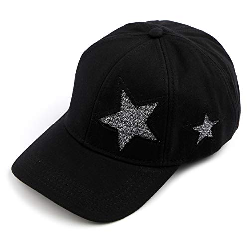 (C.C Hatsandscarf Cotton Baseball Cap with Sparkling Star Pattern (BA-42) (Black))