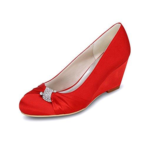 yc Alto De Del Las La Tacón 22 Zapatos Ballet Multicolores L Dedo Cuña Boda Mujeres Red Pie 9140 dqRaaE