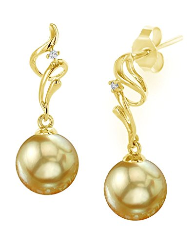 THE PEARL SOURCE 14K Gold 8-9mm Round Genuine Golden South Sea Cultured Pearl Aria Earrings for - Pearl Golden South Round Sea