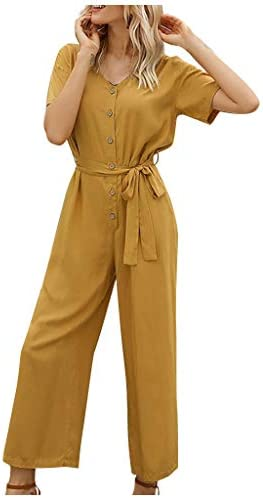 Eoeth Fashion Womens Casual Solid Color Strapped Single-Breasted Short Sleeve Jumpsuit Casual Loose Wide Leg Long Romper