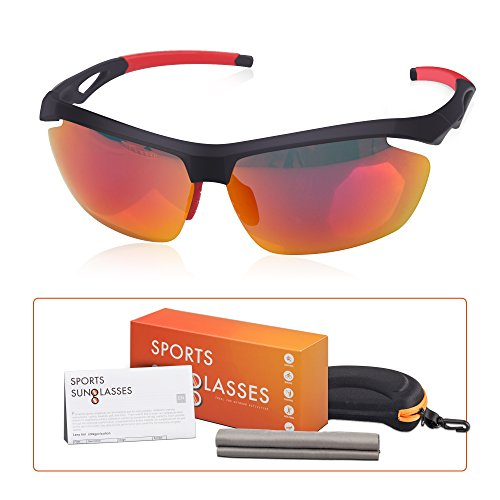 Price comparison product image M-Better Polarized Sports Sunglasses, 100% UV Protection Unbreakable, Full Mirror Coating, Nano Anti-fingerprint Lens, for Running Cycling Golfing Baseball Fishing and Outdoor Activity(Red)