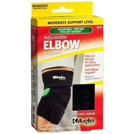 Mueller Green Adjustable Elbow Support, Moderate Support, Model 6315 One Size Black - 3PC by Mueller