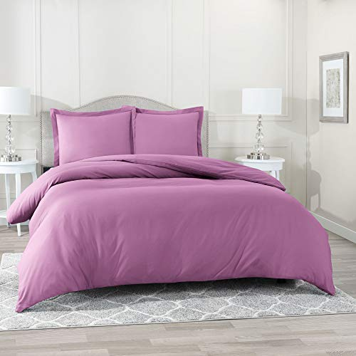 Nestl Bedding Duvet Cover 3 Piece Set - Ultra Soft Double Brushed Microfiber Hotel Collection - Comforter Cover with Button Closure and 2 Pillow Shams, Lavender Dream - Queen -