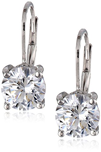 Platinum Plated Sterling Silver Lever back Earrings set with Round Swarovski Zirconia (3 cttw)