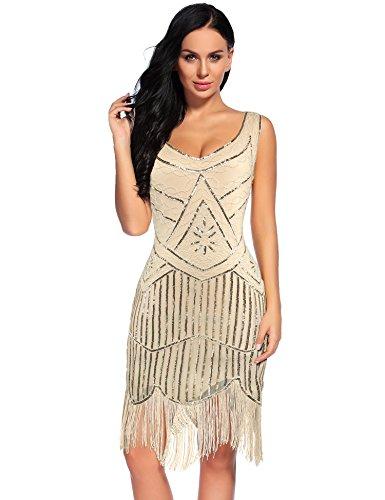 Gatsby Dresses (Flapper Girl Women's Vintage 1920s Sequin Beaded Tassels Hem Flapper Dress (M,)
