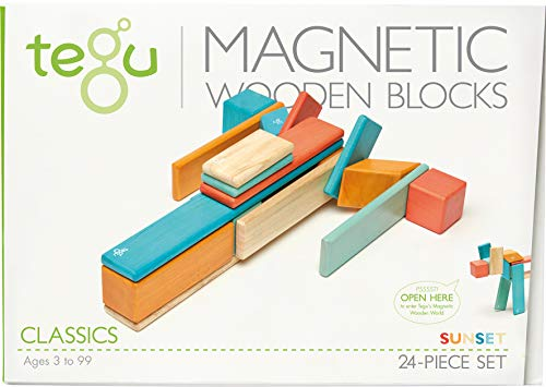 (24 Piece Tegu Magnetic Wooden Block Set, Sunset)
