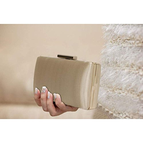 Xardi London clutch rigida da donna, compatta, in raso, misura media, adatta per spose, balli, serate. Nude Plain Satin