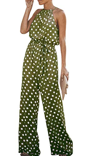 Chuanqi Womens Polka Dot Jumpsuits Wide Leg Halter Neck Sleeveless Casual Jumpsuit Rompers with Belt ()
