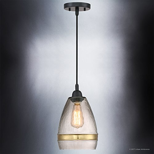 Luxury Vintage Pendant Light, Small Size: 12''H x 7.75''W, with Tuscan Style Elements, High-End Black Silk Finish and Light Brown Hammered Glass with Brass Accent Band, UQL2645 by Urban Ambiance by Urban Ambiance (Image #3)
