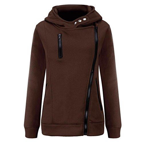 Price comparison product image Mchoice Women Plus Velvet Thickened Hooded Sweater Zipper Coat (S,  Coffee)