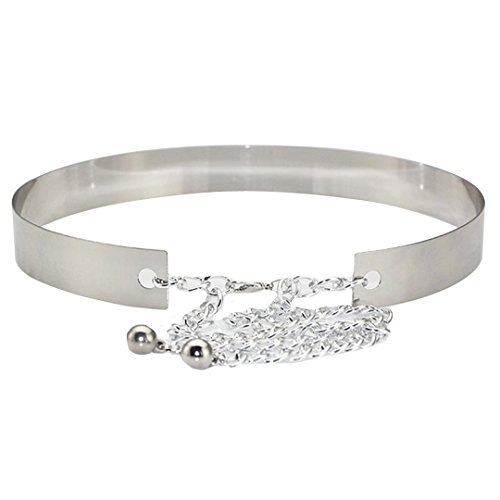 LABANCA Women's Metal Chain Dress Decorated Skinny Waist Belt Color Sliver Width 3CM (Skinny Silver Belt)