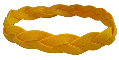 No Slip Grip /Non-Slip Sports / Athletic Nylon Triple Braided Sports Headband (Available in Lots of Colors) (Yellow)