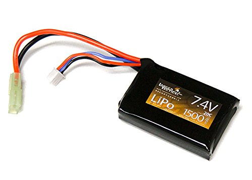 Lancer Tactical Airsoft 7.4v LiPO Flat Battery - 1500mAh 3-Cell 20c Lithium Polymer Battery for Unmodified AEGs