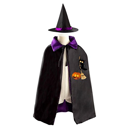 Sexy Witch Makeup Ideas (Wicked Black Cat Witch Cloak Reversible Cosplay Costume Satin Cape Boys Girls Red Purple)