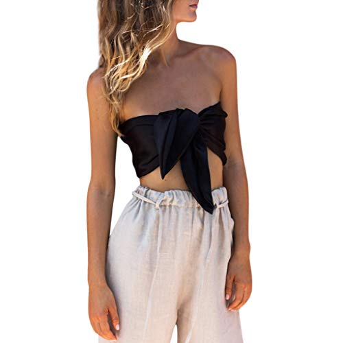 Yxiudeyyr Women Sexy Off Shoulder Crop Tank Top Solid Bandeau Bra Vest Bow Tie Front Blouse T-Shirt ()