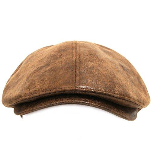 ililily Schirmmütze: Flat Cap gehalten im klassischer Stil, Cabbie (Chauffeurmütze), Gatsby/Ivy Cap, irische Golfermütze, Schiebermütze aus streckbarem Stoff, Light Brown, XL