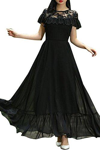 65a888520e0 Aashish Garments Black Net Style Ruffle Peplum Women Maxi Dress  (blk-net-rfle