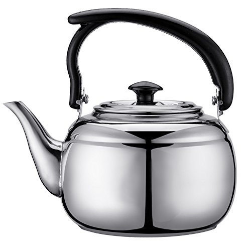 (Stainless Steel Whistling Tea Kettle,1L Tea Kettle,Surgical Whistling Teapot with Capsule Bottom and Mirror Finish(SILVER))
